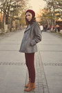 heather gray Kiabi coat - Tally Weijl boots - ruby red Camaïeu hat