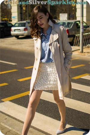 white Bershka skirt - eggshell Orsay coat - sky blue H&M shirt