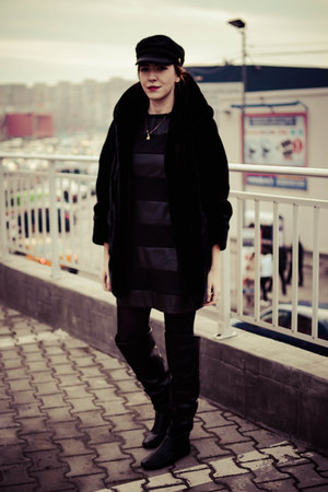 black Tally Weijl boots - black choiescom dress - black JollyChic coat