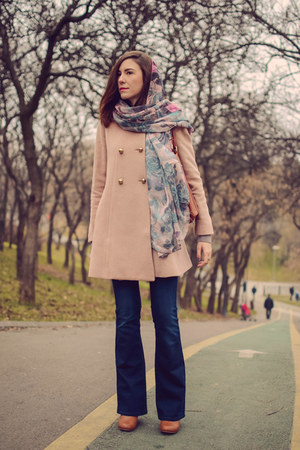 light pink Front Row Shop coat - brown Tally Weijl boots