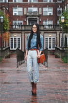 dark brown wedge leather Steve Madden boots - light blue roberto cavalli jeans