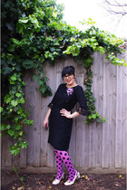 polka dot Happy Socks tights - vintage Etsy dress - vintage corsage accessories