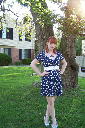 blue Zara dress - white H&M belt - white go jane shoes - black modcloth necklace