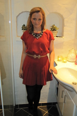 River Island necklace - black asos tights - Berry Red Topshop romper