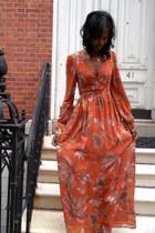 burnt orange flowy H&M dress - cuff Avon bracelet - H&M bracelet