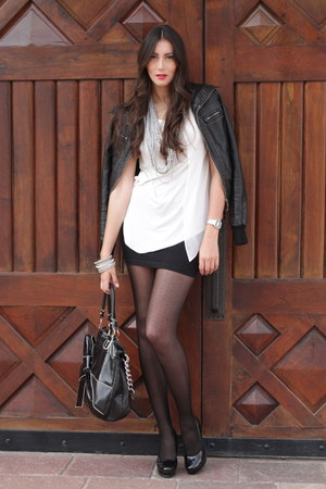 Zara shirt - Wet Seal jacket - Calzedonia tights