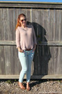 Beige-h-m-sweater-brown-smart-set-sunglasses-light-blue-ardene-pants