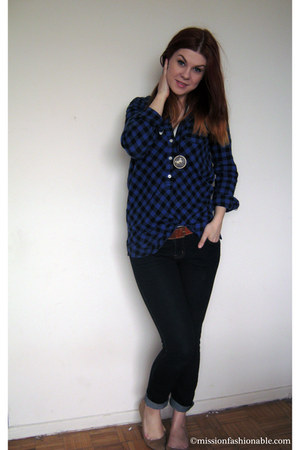 navy Ardene jeans - blue Joe Fresh shirt - tawny H&M belt