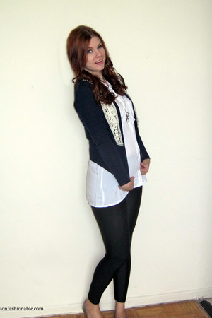 navy Forever 21 cardigan - black American Apparel leggings - white Ardene shirt