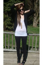 black f21 boots - white abercrombie and fitch shirt - black H&M cardigan - gold
