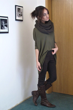 green wilfred shirt - green mens H&M scarf - brown Zara pants