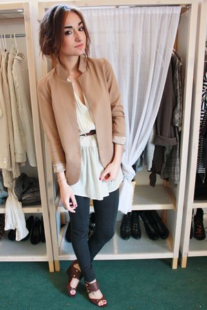gray Zara leggings - Silence&amp;Noise blazer - Zara blouse - Nine West shoes