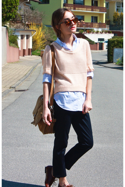 pink Topshop sweater - blue f21 top - Zara pants - Zara purse - Steve Madden sho