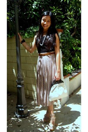 black diy lace top - beige vintage purse - light pink Forever 21 skirt