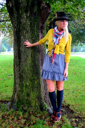 mustard NY&CO cardigan - charcoal gray Marshalls dress - dark brown Target hat