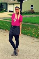 hot pink thrifted vintage shirt - black coach scarf - black Wet Seal shorts