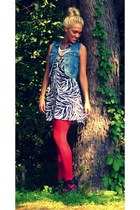 ruby red Macys tights - black Macys dress - blue Guess vest