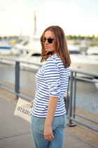 blue Frame jeans - blue striped Armor-lux top - red Tibi sandals