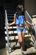 blue reformed top - blue Gap shorts - brown Deena & Ozzy shoes - black Steve Mad