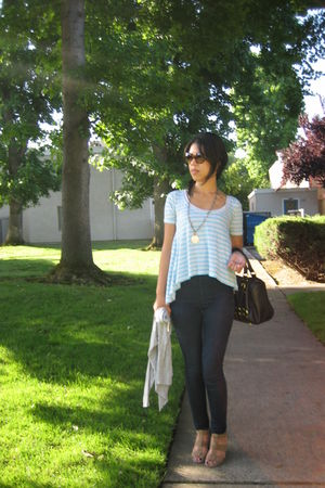 blue abercrombie & fitch top - blue Wax jeans - beige Forever 21 shoes - black S