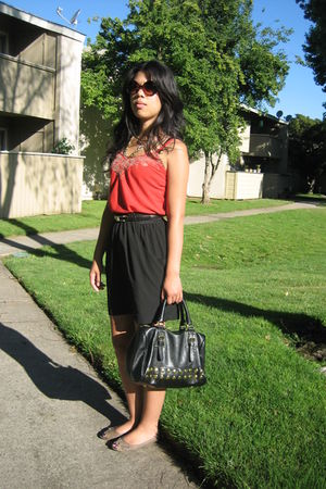 orange Old Navy top - gold unknown necklace - black unknown belt - black Silence