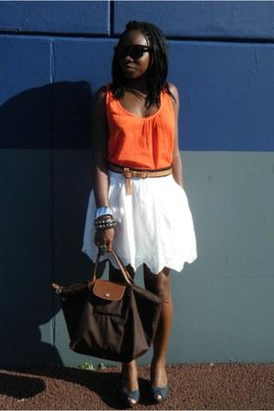 Kiabi top - gemo shoes - longchamp bag - moa sunglasses - Zara skirt - H&M belt