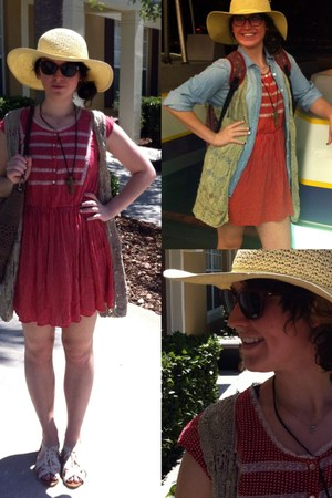 free people dress - thrifted hat - vintage vest - J Crew blouse