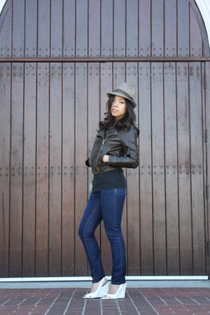 skinny jeans Macys jeans - fedora thrifted hat - hollister jacket - white slingb
