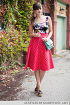 red modcloth dress - aquamarine modcloth bag - black modcloth top