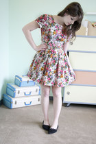 pink modcloth dress - black modcloth flats - bubble gum modcloth earrings