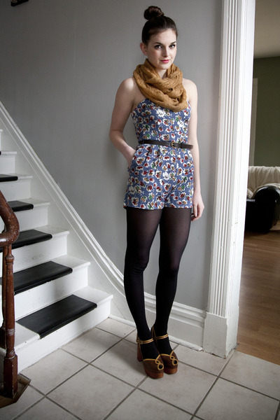camel modcloth scarf - navy modcloth tights - blue moms romper