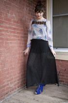 black modcloth shorts - amethyst modcloth top - black modcloth skirt - blue modc