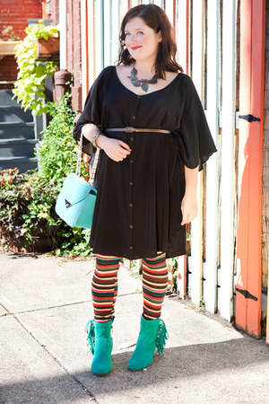 turquoise blue modcloth boots - black modcloth dress - tawny modcloth leggings