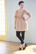 peach modcloth dress - black modcloth leggings - silver modcloth heels - gold mo