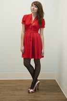 red red Seen in Quebec Dress dress - black Jukebox Tights in the Pony tights