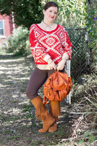 red modcloth sweater - bronze modcloth boots - brown modcloth leggings