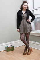 light brown modcloth dress - black modcloth jacket - black modcloth tights - cam