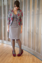crimson modcloth shoes - gray modcloth dress - black modcloth tights - gray modc