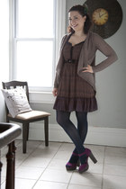 brown modcloth dress - light brown modcloth sweater - navy modcloth tights - mag