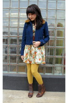 beige modcloth dress - blue modcloth jacket - brown thrifted belt - gold tights