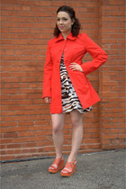 white modcloth dress - ruby red modcloth jacket - burnt orange modcloth wedges