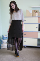 black modcloth tights - sky blue modcloth top - black modcloth skirt - black mod
