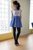 navy modcloth tights - blue modcloth skirt - blue modcloth top - navy seychelles