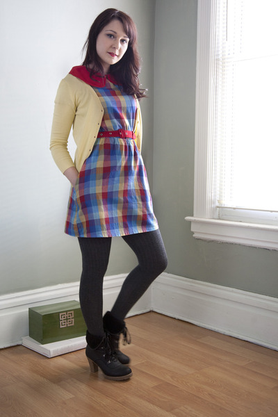 black modcloth boots - rainbow plaid dress - dark gray modcloth tights - light y