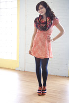 red modcloth dress - navy modcloth tights - black modcloth scarf - orange modclo