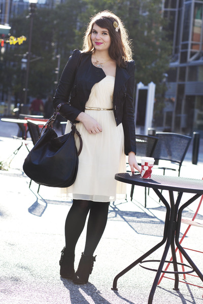 off white modcloth dress - black modcloth bag - black modcloth boots - gold modc
