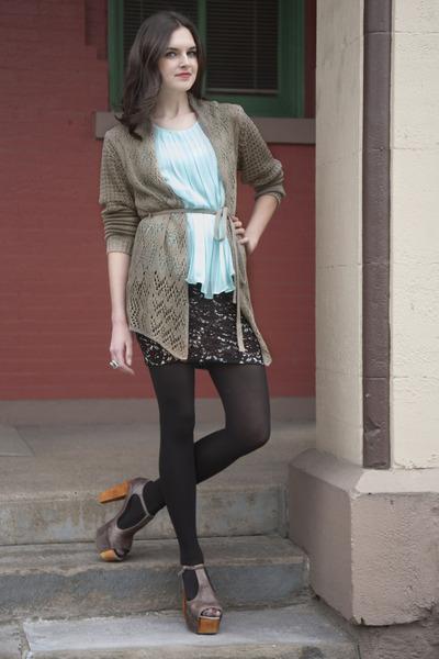 aquamarine modcloth top - dark khaki modcloth cardigan - black modcloth skirt -
