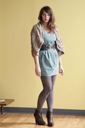 green modcloth dress - gray modcloth tights - brown modcloth sweater - brown mod