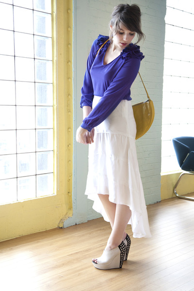 yellow modcloth bag - white modcloth wedges - white modcloth skirt - purple modc