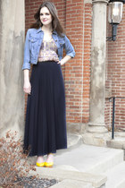 blue modcloth jacket - black modcloth skirt - peach modcloth top - yellow modclo